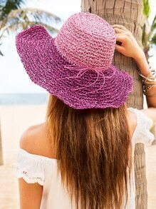 Vacation Bow Trim Crochet Large Brimmed Straw Hat
