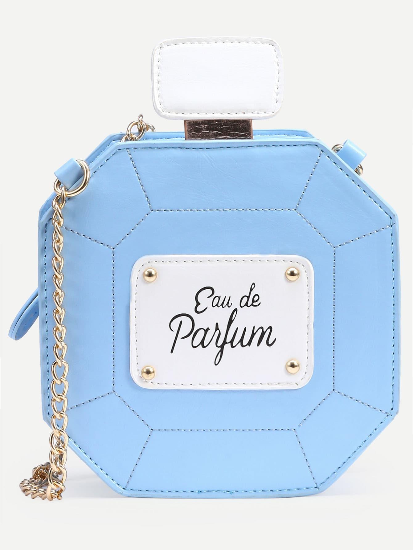 Bolsito botella de perfume con cadena azul spanish romwe - Botellas para perfumes ...