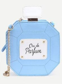 Blue Perfume Bottle Bag With Chain
