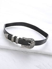 Vintage Inspired Silver Buckle Belt