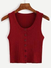 Burgundy Button Front Ribbed Knit Top