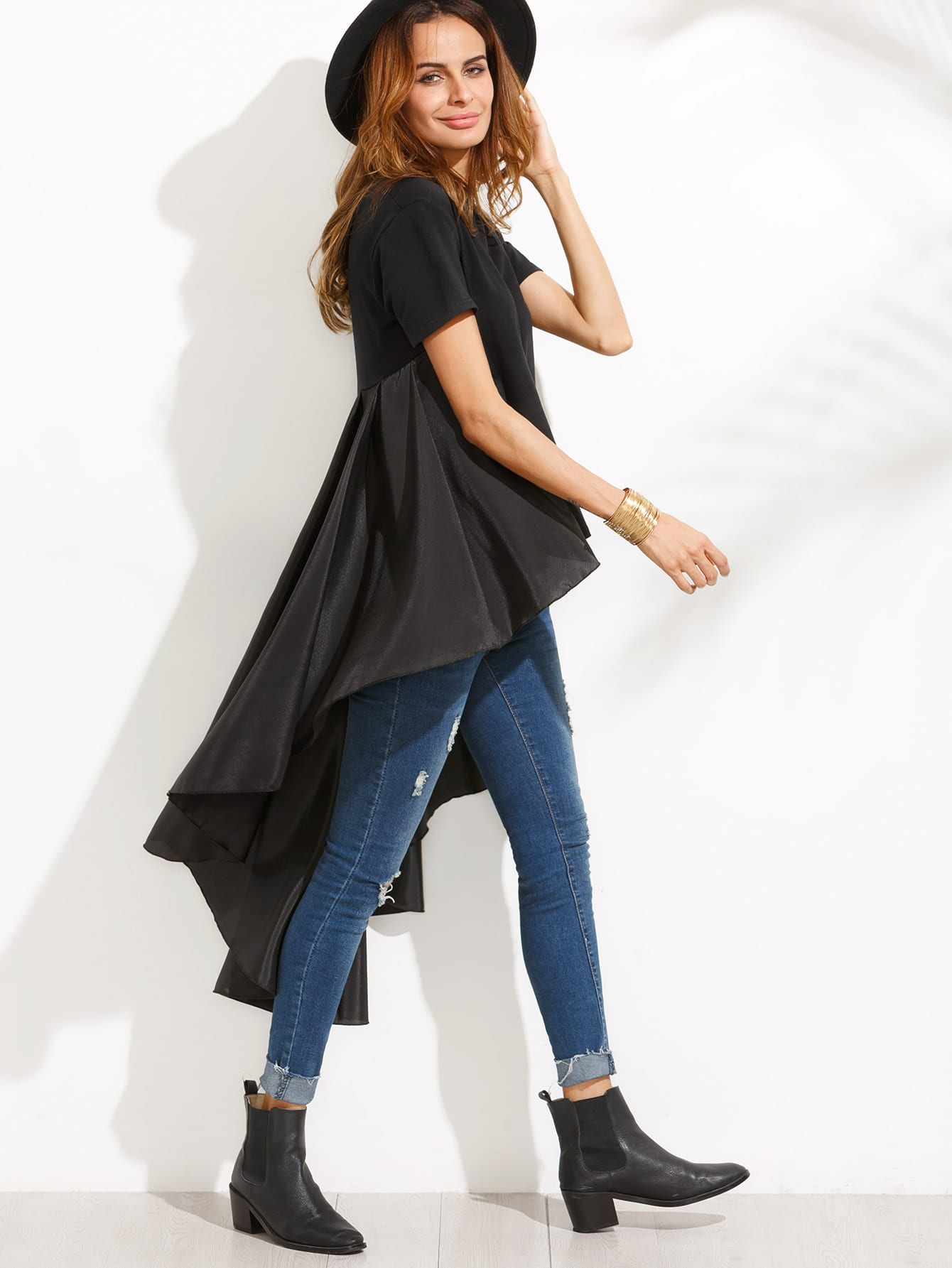 Black High Low Top With Ruffle TailFor Women-romwe