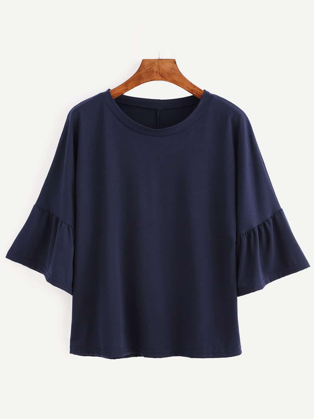 Navy bell sleeve t shirtfor women romwe for Bell bottom sleeve shirt