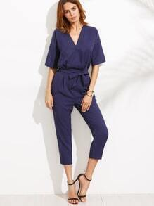 Blue V Neck Self Tie Jumpsuit
