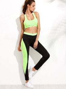 Black Green Color Block Tank Top With Pants