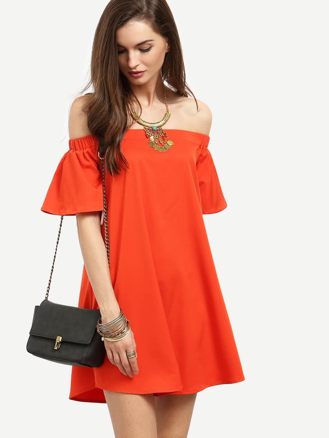 Red Ruffle Off The Shoulder Shift Dress