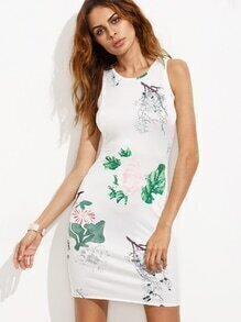 White Random Floral Print Split Back Bodycon Dress