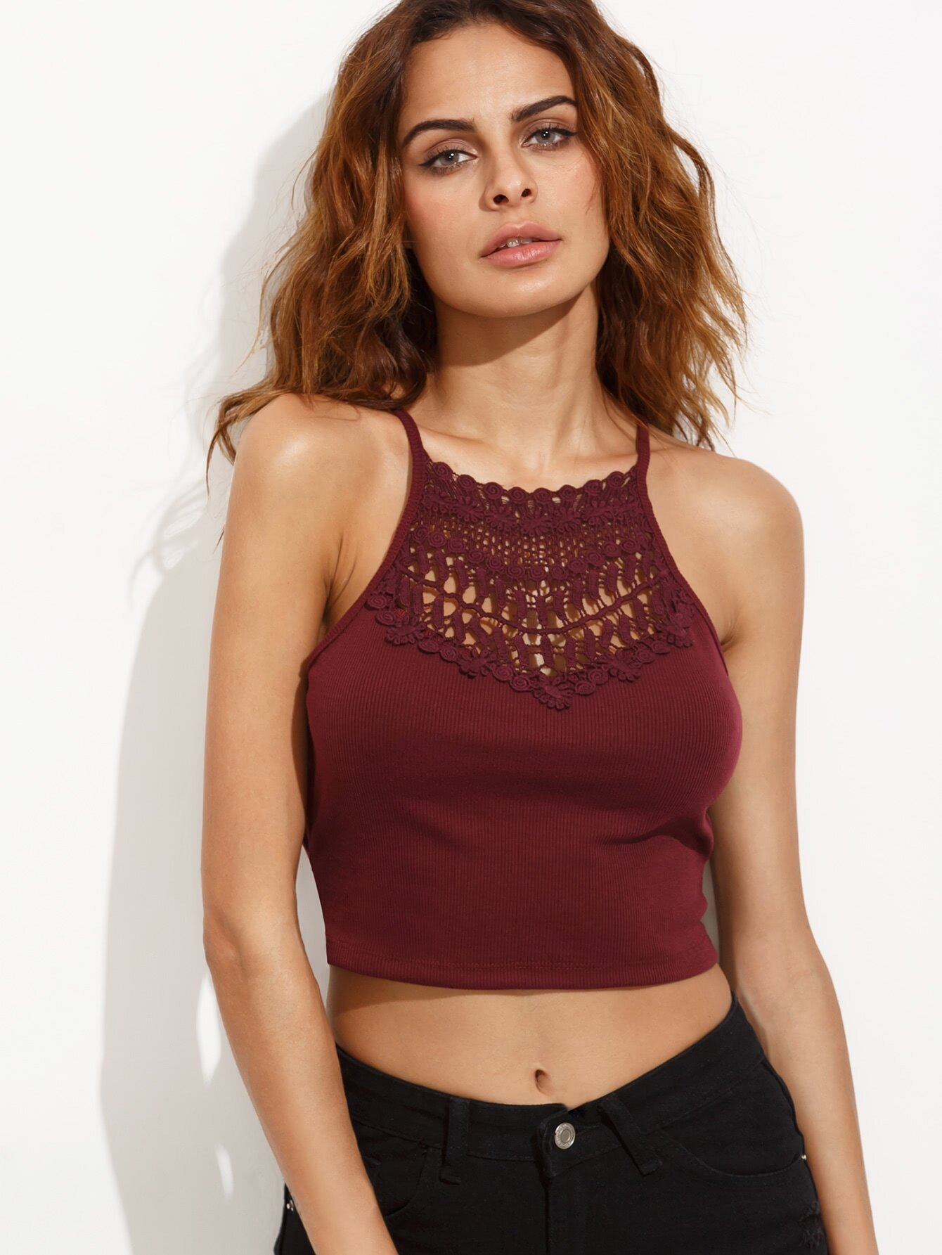 Burgundy Crochet Insert Lattice Side Ribbed Cami Top