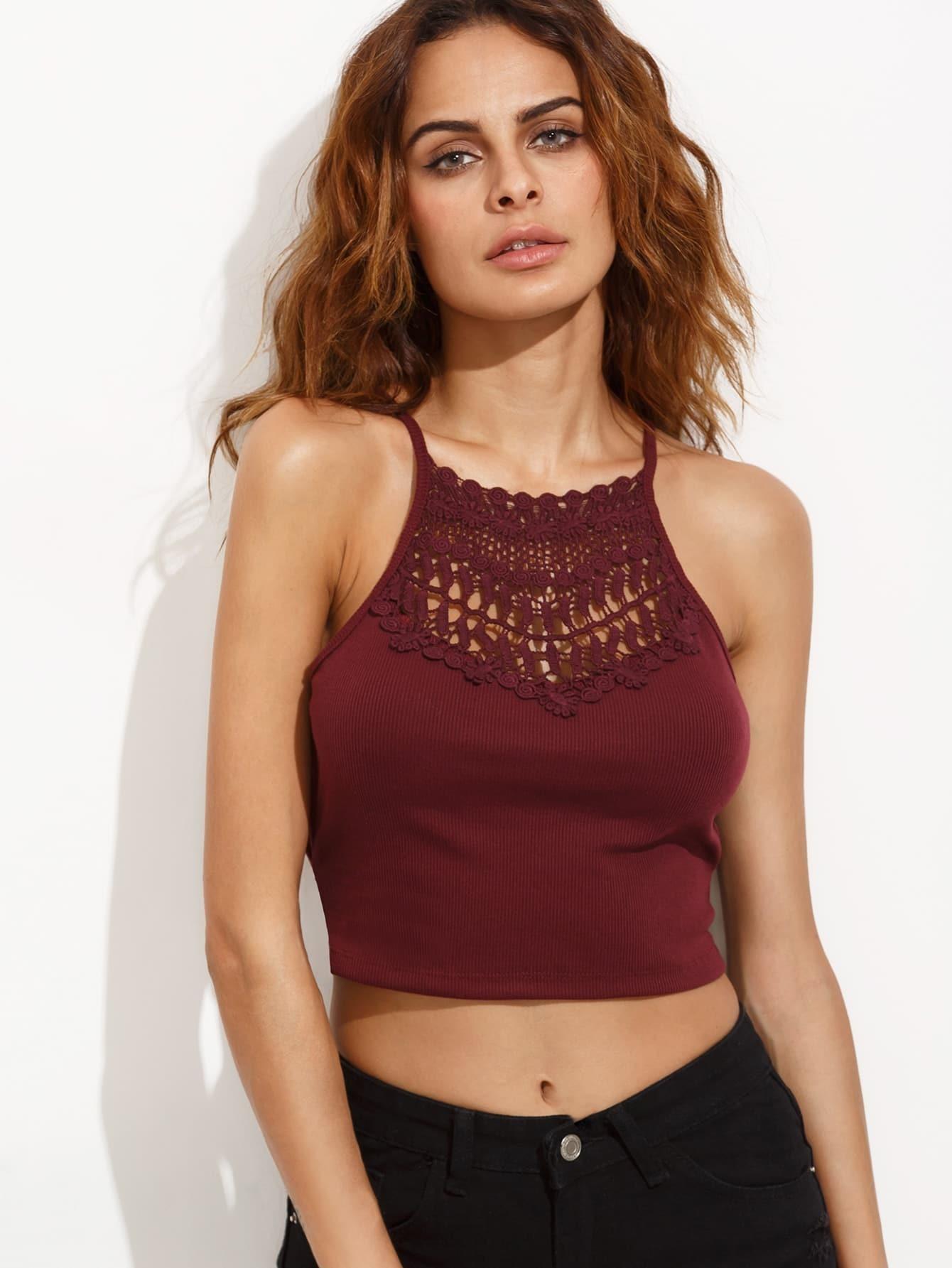 Burgundy Crochet Insert Lattice Side Ribbed Cami Top