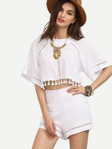 Top abertura borlas con shorts - blanco