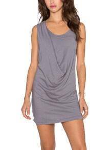 Grey Sleeveless Draped Dress