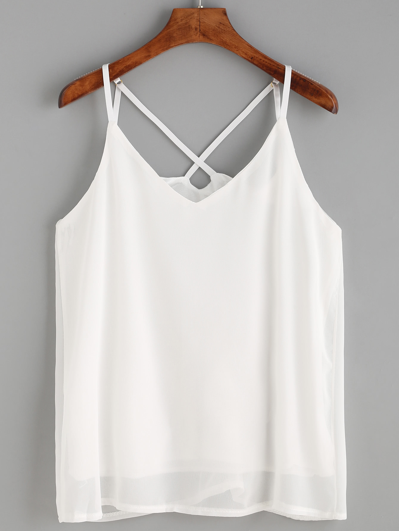 White Strappy Chiffon Cami Top