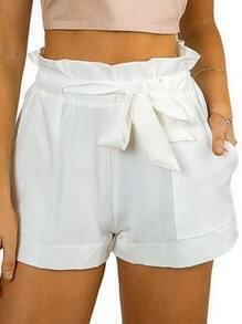 White Ruffle Waist Self Tie Shorts