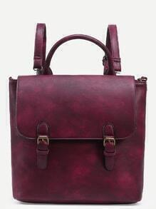 Bolso doble hebilla de correa satchel - borgoña