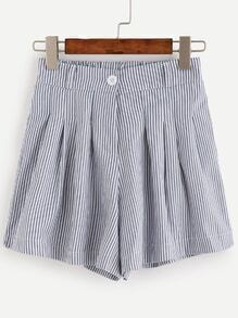 Blue Striped Pleated Shorts