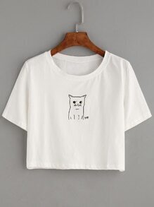 Camiseta gato estampado crop - blanco