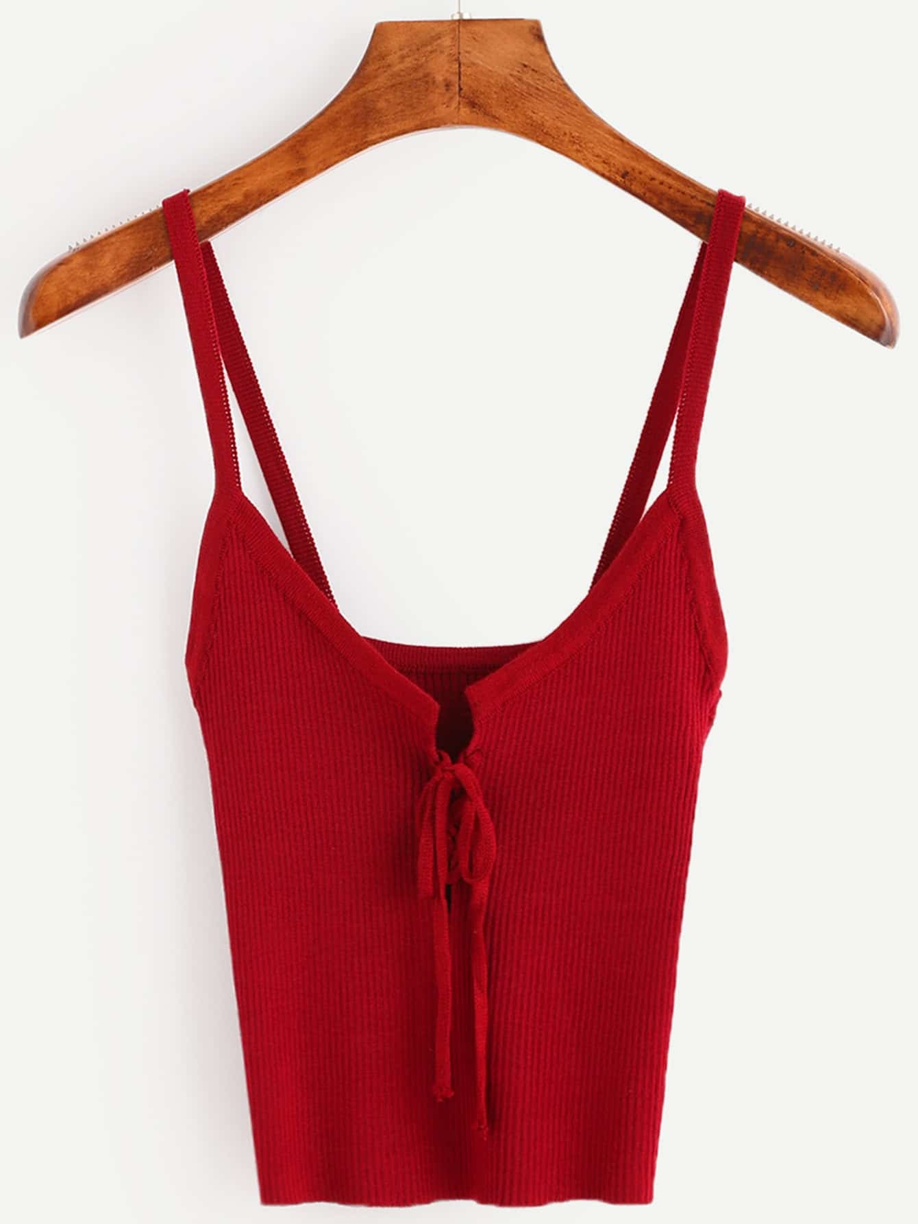 Burgundy Lace Up Ribbed Cami Top