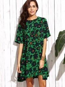 Dark Green Floral Shift Dress