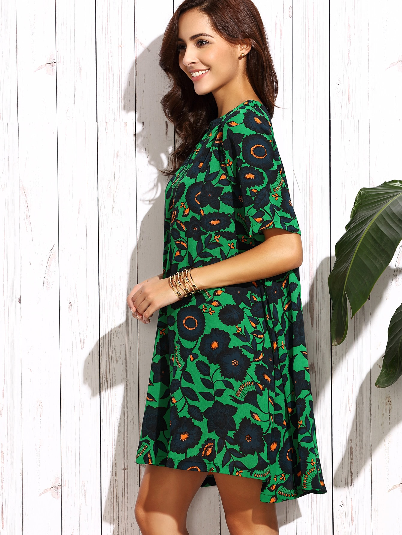 Dark Green Floral Dress