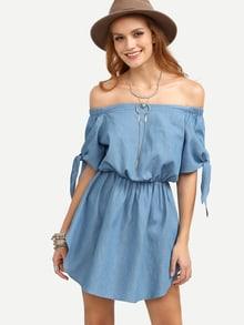 Vestido elástico hombros al aire -azul