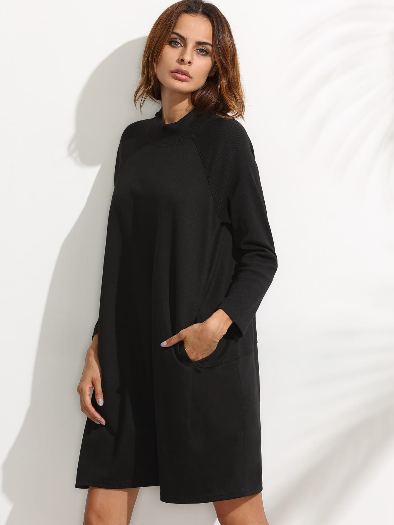 Black Ribbed Raglan Sleeve Sweatshirt Dress