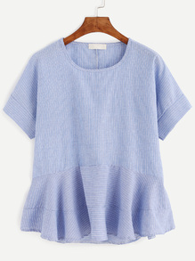 Blue Vertical Striped Ruffle Hem Blouse