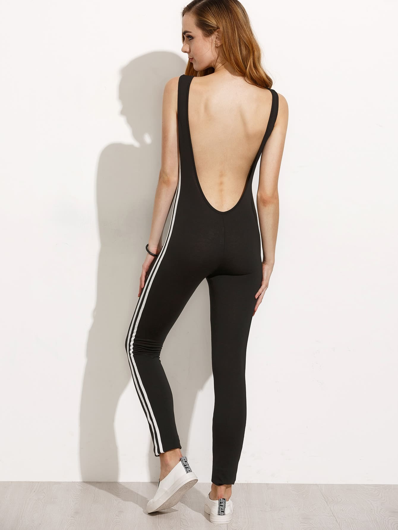 Black Striped Side Scoop Back Legging Jumpsuitfor Women Romwe