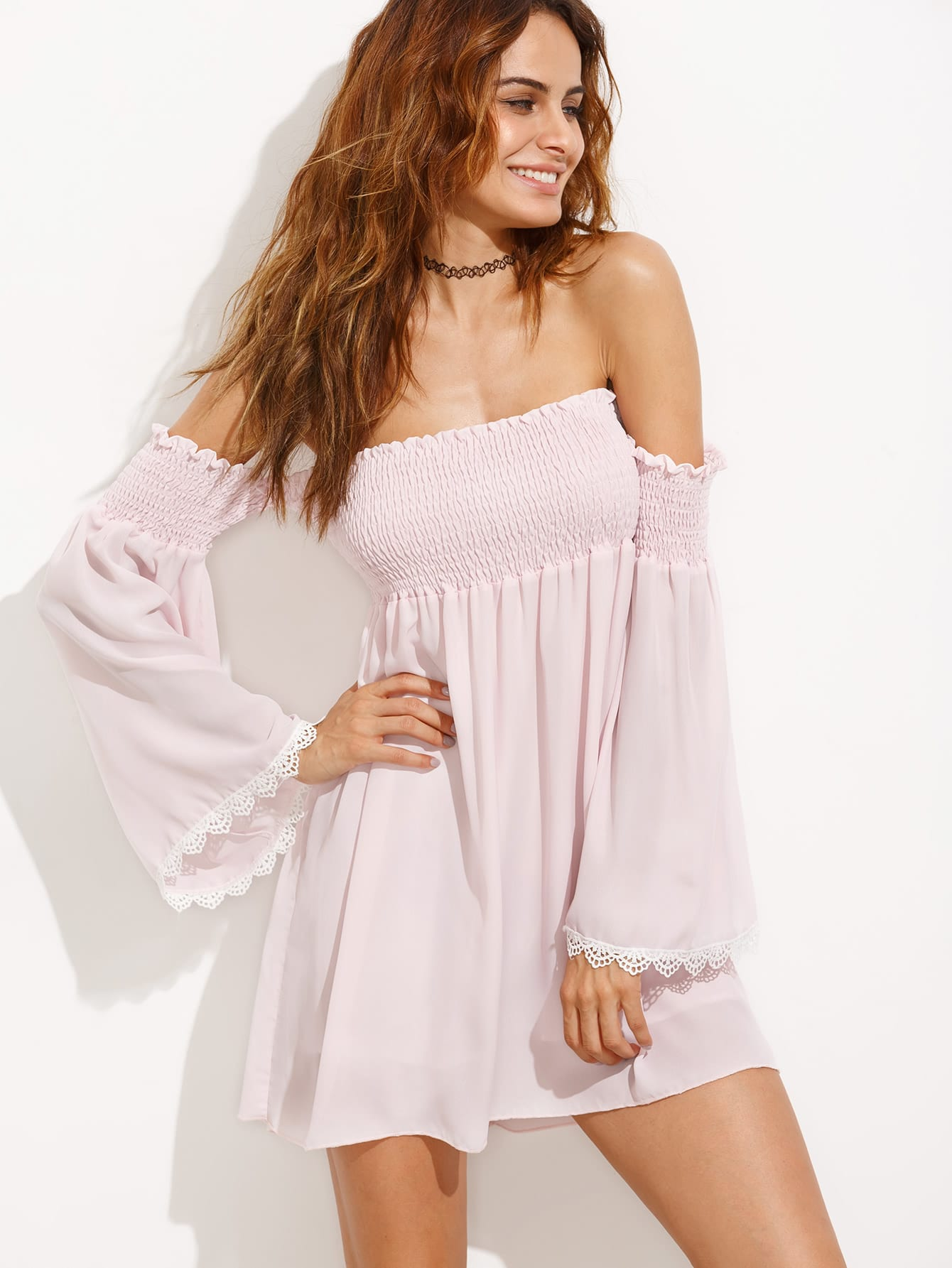 Off the Shoulder Lace Contrast Bell Sleeve Shirred Dress