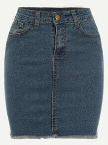 Blue Frayed Denim Skirt