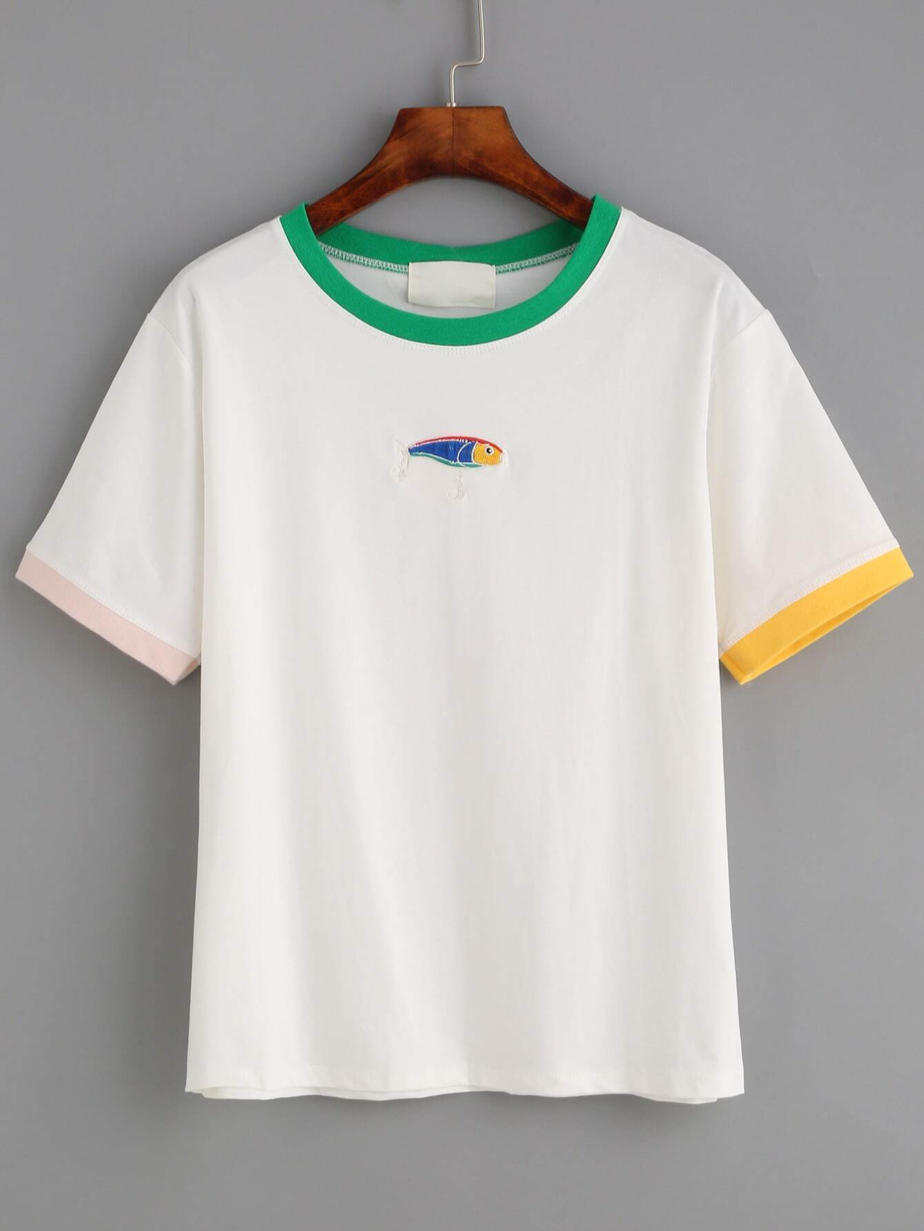 White fish embroidered contrast trim t shirtfor women romwe for Embroidered fishing shirts