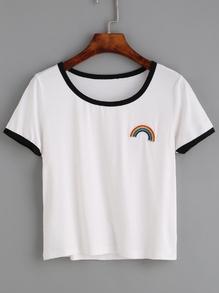 T-Shirt Regenbogen Stickereien - weiß