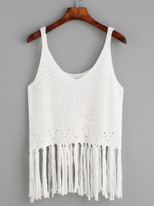 White Fringe Trim Knit Tank Top