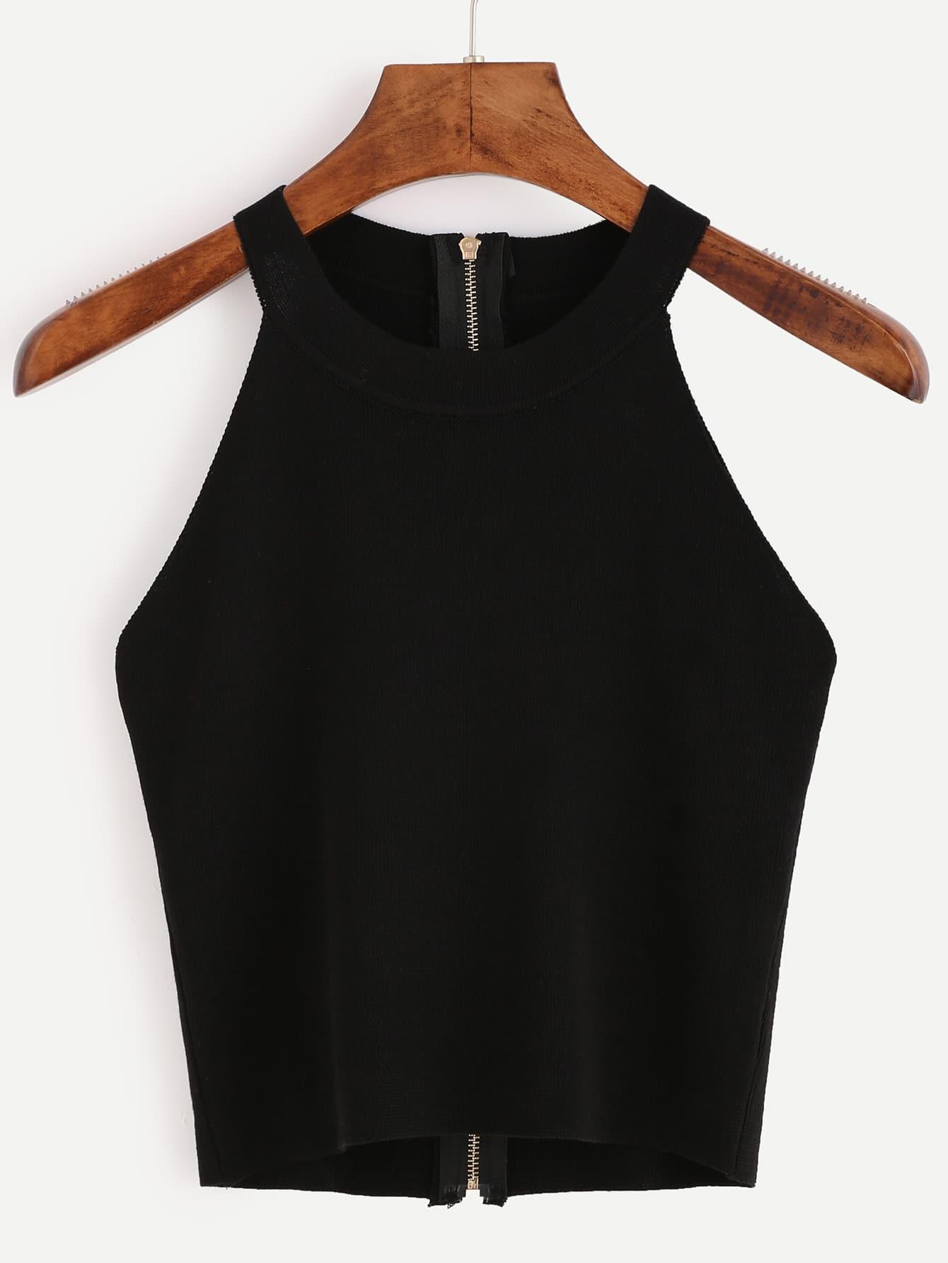Black Zip Back Knit Halter Neck Top