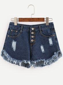 Blue Button Fly Frayed Denim Shorts