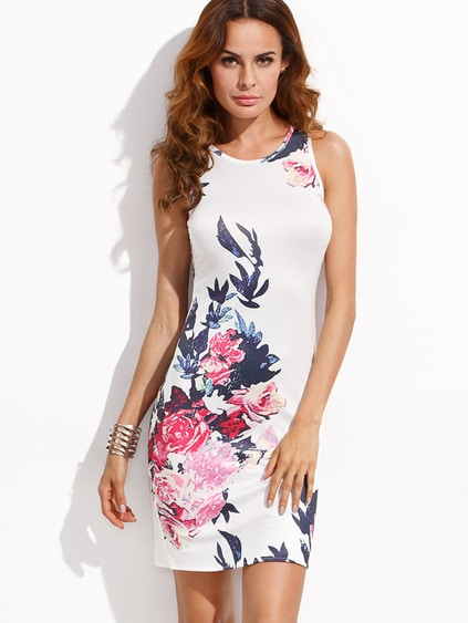 White Flower Print Slit Back Sheath Dress
