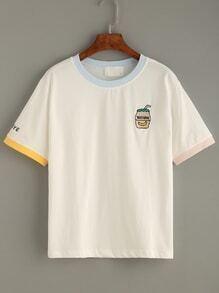 Camiseta bordado cuello en contraste - blanco
