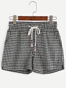 Black White Checkerboard Drawstring Shorts