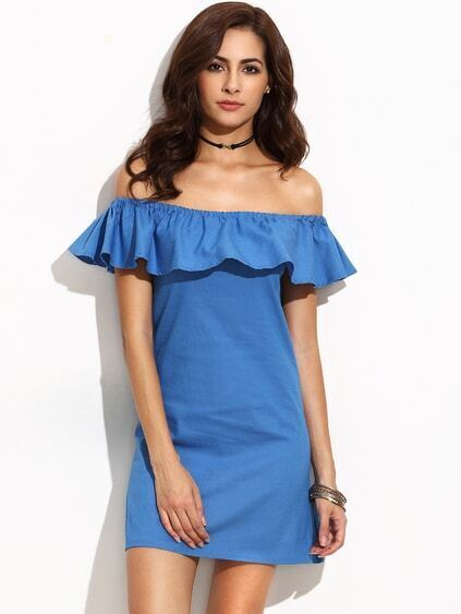 Blue Ruffle Off The Shoulder Denim Dress