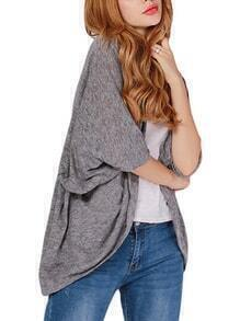 Grey Marled Knit Open Front Dolman Sleeve Cardigan