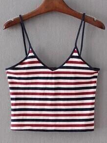 Multicolor Striped Crop Cami Top