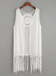 White Crochet Insert Knotted Fringe Trim Top