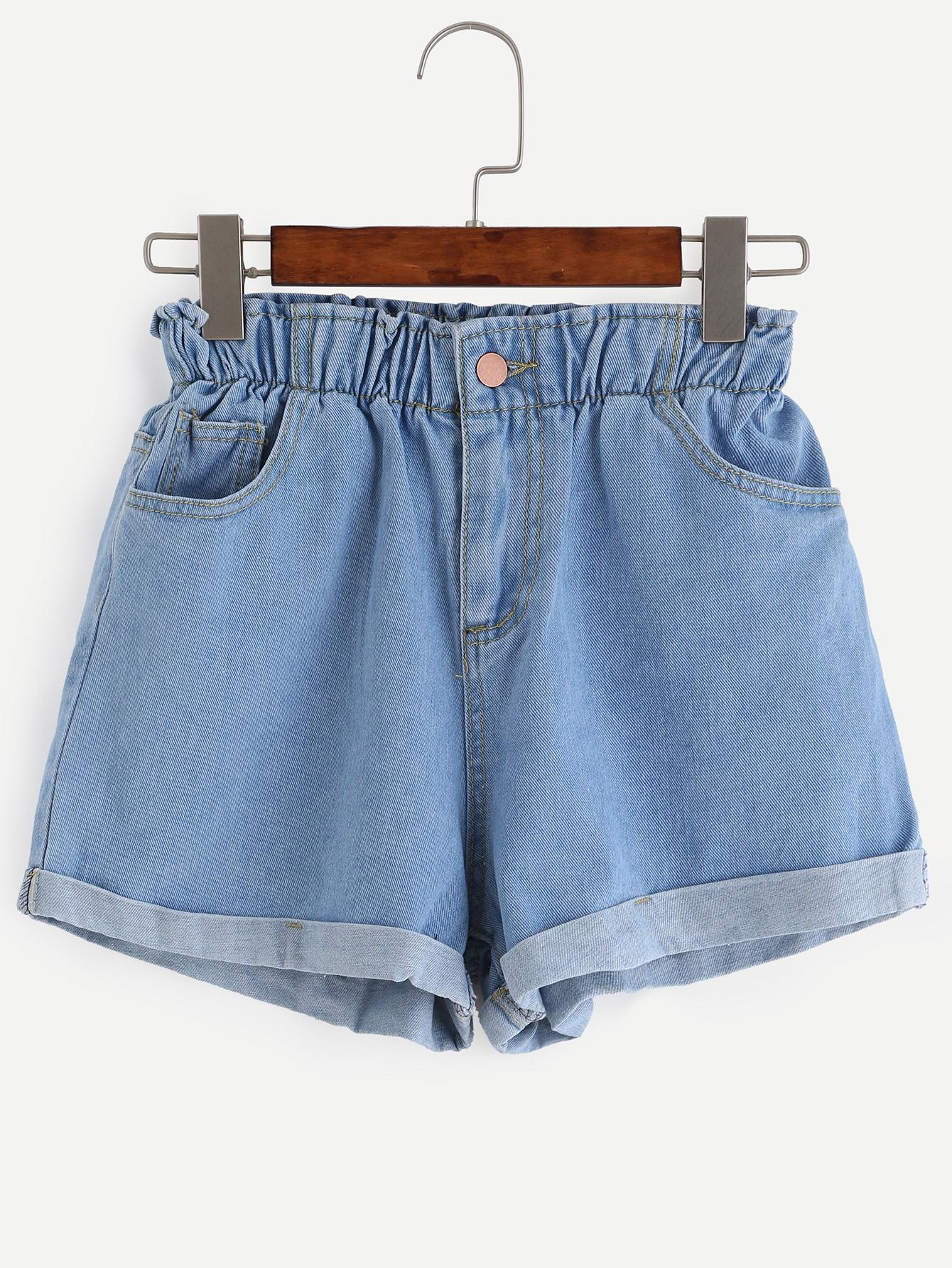 Blue Elastic Waist Roll Hem Denim Shorts