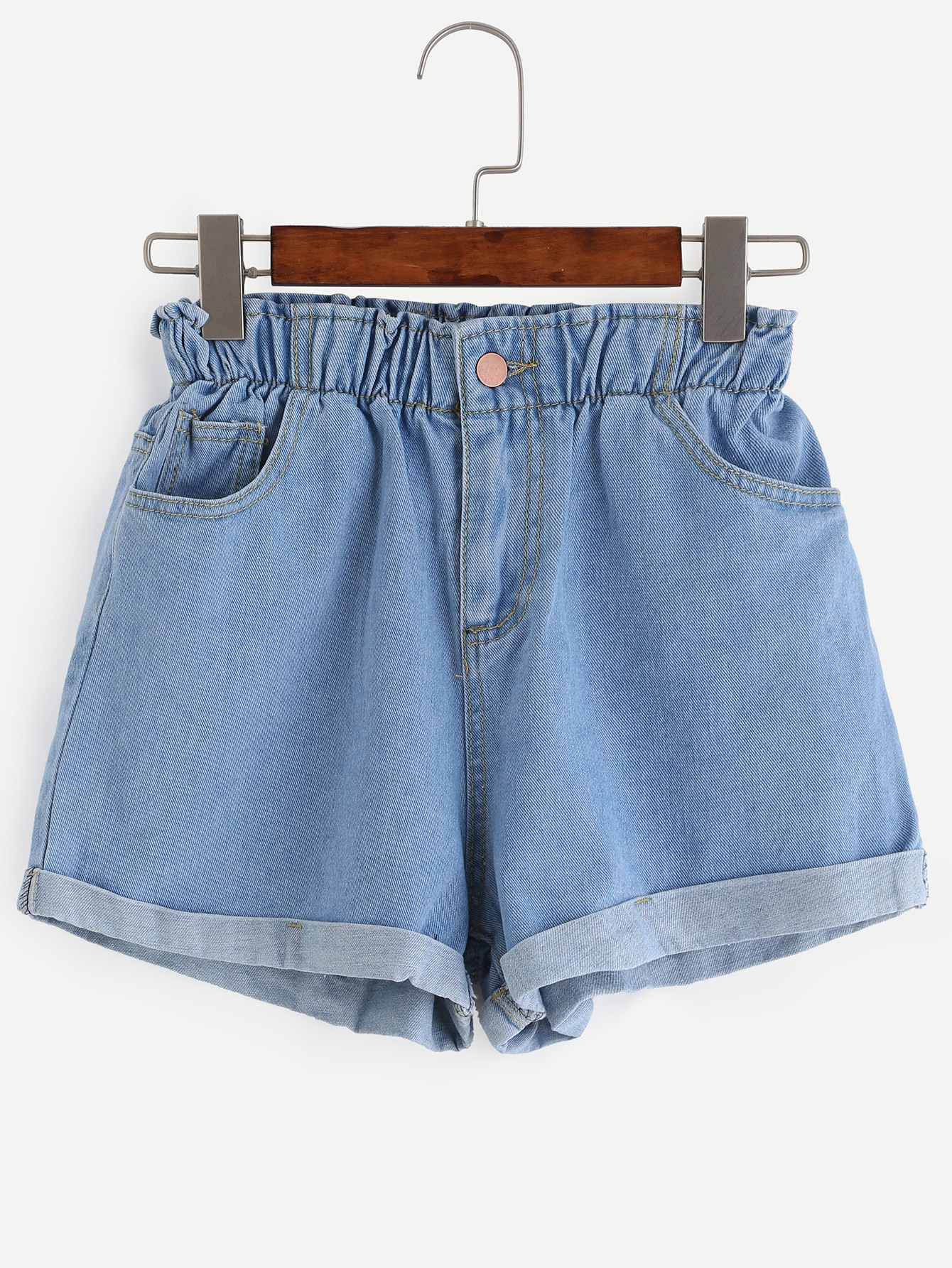 Blue Elastic Waist Roll Hem Denim Shorts