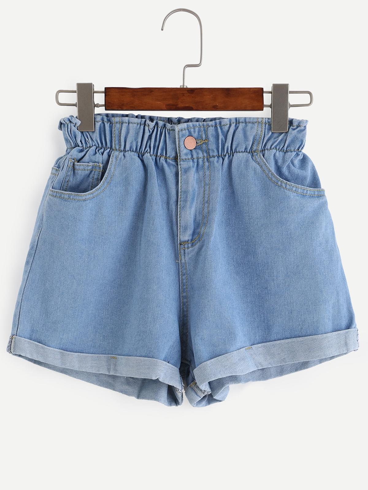 藍色 彈性腰 捲 下擺 牛仔布 短褲