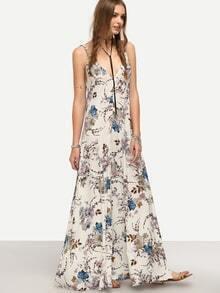 Robe longue à bretelle motif fleuri col V dos nu - multicolore