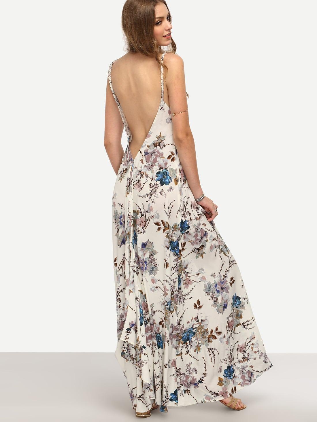 robe longue bretelle motif fleuri col v dos nu multicolore french romwe. Black Bedroom Furniture Sets. Home Design Ideas