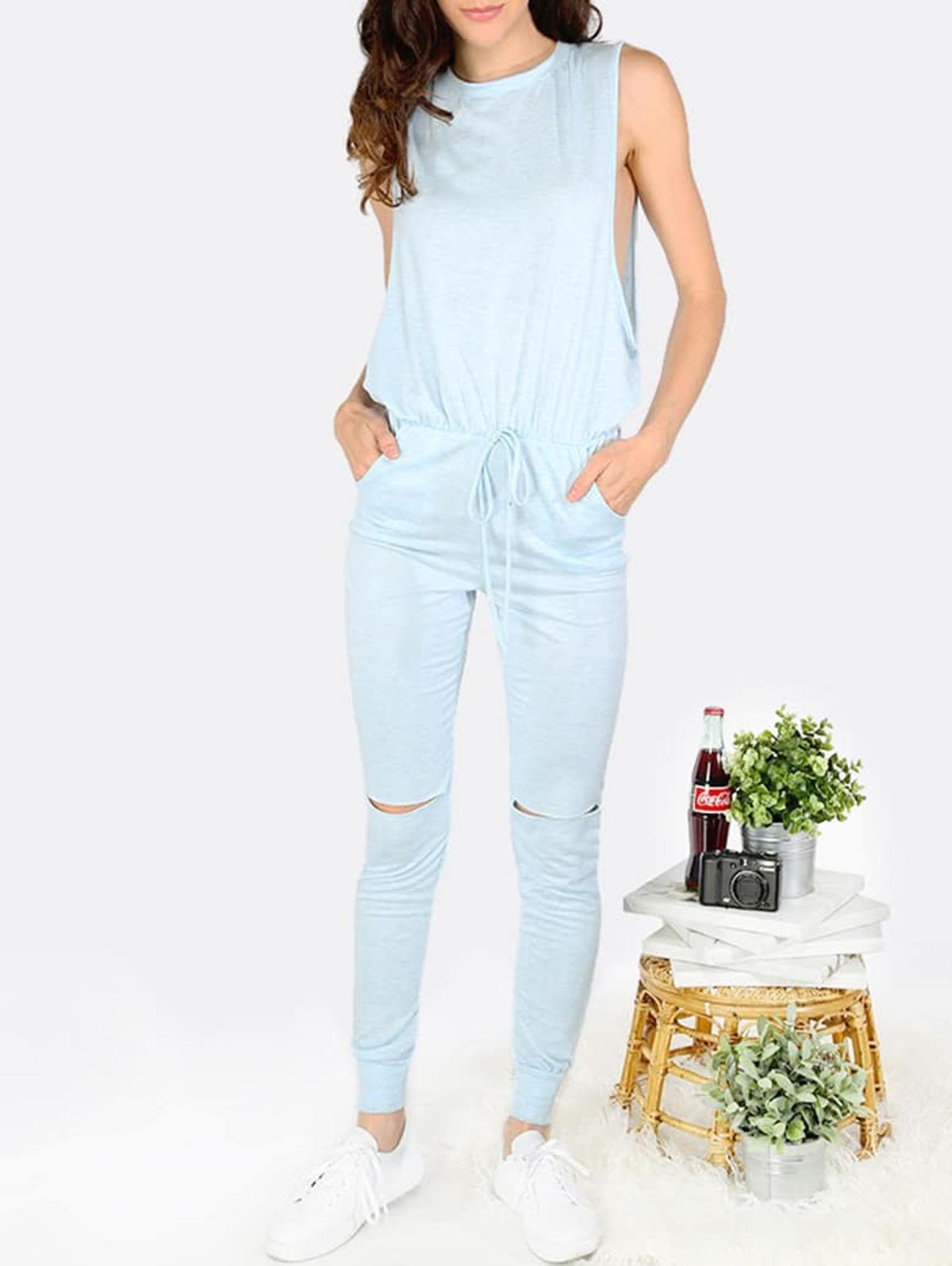 淺藍色  自綁帶 腰 口袋 連身服飾