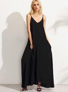 Vestido tirante fino maxi - negro