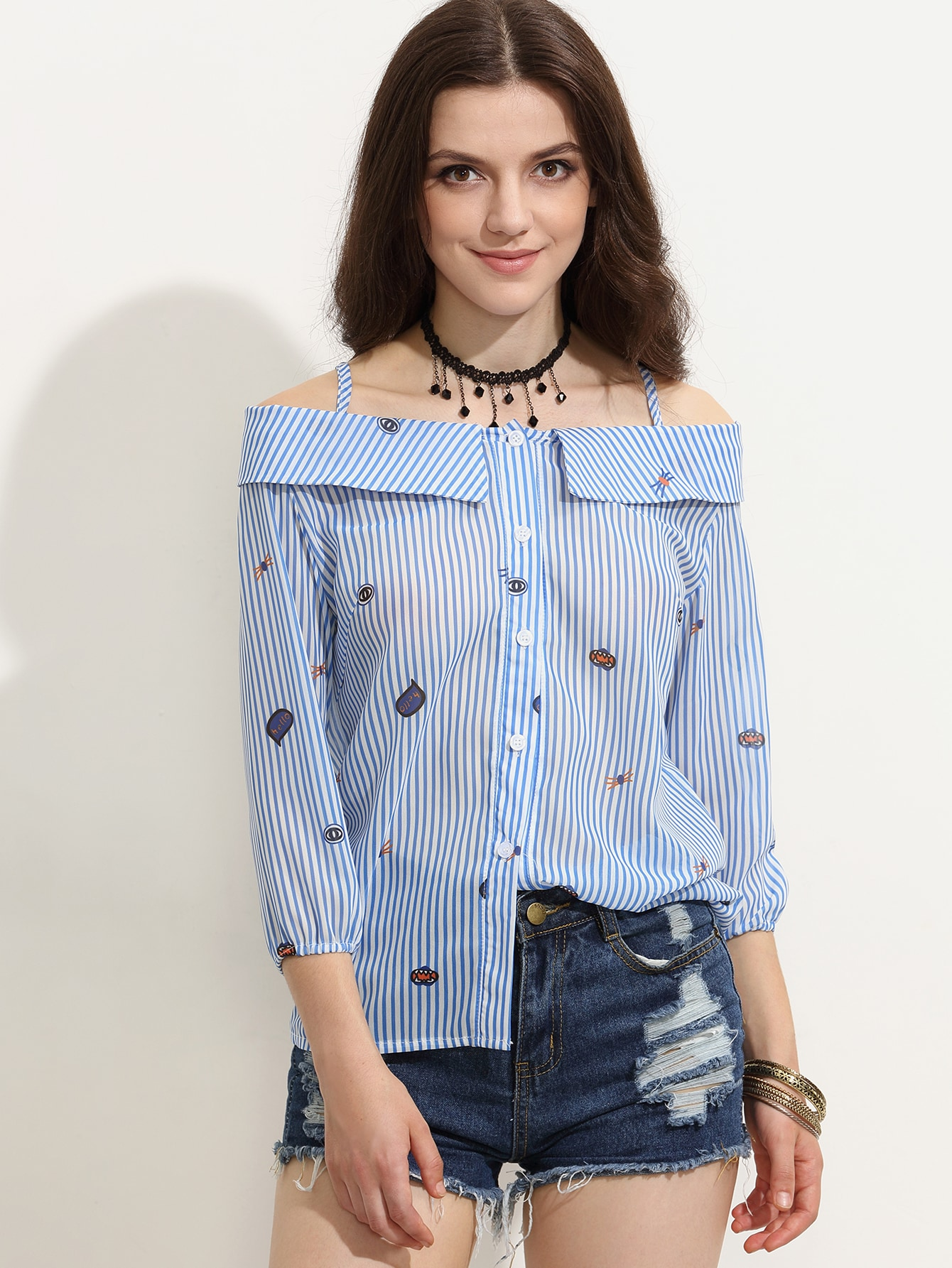 Blue Striped Cartoon Print Cold Shoulder Fold Over Blouse blouse160713304