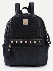 Black Braided Studded Backpack